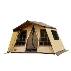 ogawa campal(小川キャンパル) オーナーロッジ タイプ52R/ サンドベージュ×ダークブラウン 2252アウトドアギア キャンプ5 キャンプ用テント タープ 五人用(5人用) ブラウン おうちキャンプ ベランピング