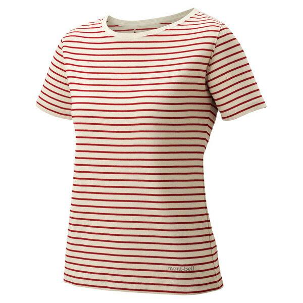 ★エントリーでポイント5倍!mont-bell(モンベル) WICボーダーTWS/DRD/S 1104817レッド レディースウェア ウェア アウトドア 半袖Tシャツ 半袖Tシャツ女性用 アウトドアウェア