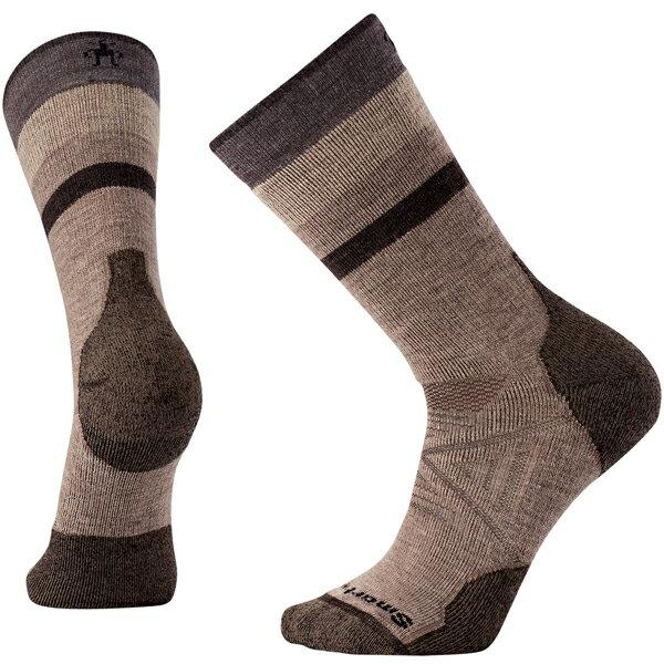SmartWool(スマートウール) PhDアウトドアミディアムパターンクルー/フォッシル(new)/L SW71056男性用 ブラウン 靴下 レッグウェア ソックス 化繊 アウトドアウェア
