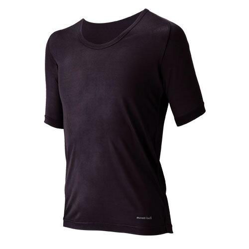 mont-bell(モンベル) SPシルクL.W. UネックTシャツ MS/GM/S 1107253男性用 ブラック トップス メンズインナー スポーツ用インナー 男性用インナー 半袖シャツ アウトドアウェア