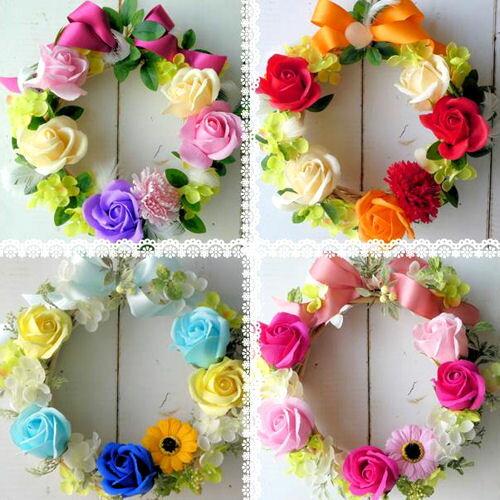 母の日 ソープフラワー 「香りのローズリース」 全4色 シャボンフラワー ブーケ 花束 石けんのお花 ギフト 誕生日 リース