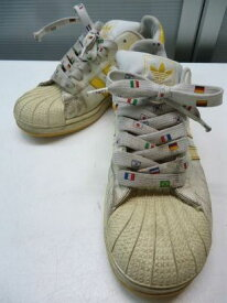 【中古】【あす楽可】adidas/アディダス■スニーカー■24.0cm/US5 1/2/UK5/FR38■ホワイト×イエロー■698001 012180■定番の一足で履きやすく国旗柄の靴紐も可愛い♪