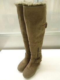 【中古】ZIDDY/ジディ■ファー付ウェッジロングブーツ ジュニア■23.0cm■カーキ×ブラウン■カジュアルに履ける一足♪サイドに「ACTIVE ZIDDY」の文字が刺繍されています◎レディースサイズとしても◎