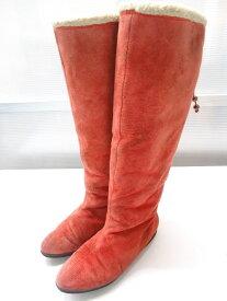 【中古】スエードバックレースアップロングブーツ■23.0cm〜23.5cm程度■レッドオレンジ■シンプルなデザインでバックリボンがポイント◎
