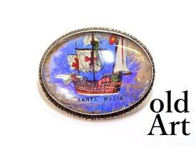 英国製 アンティーク 1920-30年代 アールデコ SANTA MARIA コロンブス 航海 船 モルフォ蝶 バタフライウィング 銀製 ピンブローチ【M-13293】【中古】【送料無料】