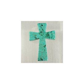 天然石 グリーンターコイズ 大玉 十字架A 30x45mm