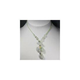 天然石 ヒスイ 淡緑 鈴蘭と小木桶 ネックレス 11x18mm