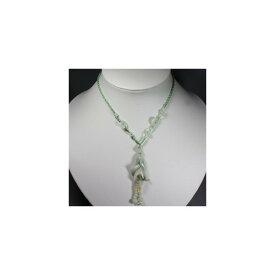天然石 ヒスイ 淡緑 白蘭花 ネックレス 20x40mm