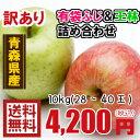 青森りんご☆送料無料☆訳あり有袋ふじ王林詰め合わせ10kg(10キロ)28〜40玉
