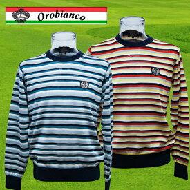 Orobianco 薄手ボーダークルーネックセーター 45880-303