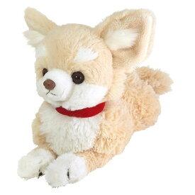 【送料無料】 ひざわんこ チワワ クリーム ぬいぐるみ 犬 動物 アニマル 全長37cm