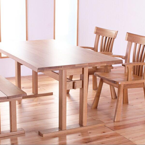 ダイニングテーブルセット 幅160cm 4点セット 4人掛け ダイニングセット ベンチ ダイニングチェア 無垢 オーク 天然木 北欧 和風モダン 肘付き椅子 無料設置