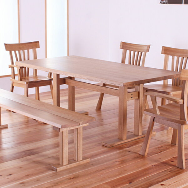ダイニングテーブルセット 幅180cm 6点セット 7人掛け ダイニングセット ベンチ 肘付椅子 肘無椅子 無垢 オーク 天然木 北欧 モダン 無料設置