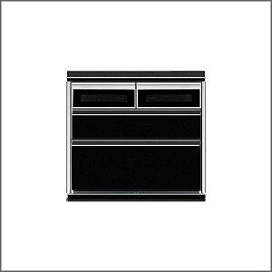 【チェスト】【幅80cm】【ブラック】ローチェスト整理タンス衣類収納洋服タンスリビング収納大容量スライドレール付スタイリッシュモノトーンデザインチェストロータイプ小窓付きガラス窓UV塗装仕上げ【2sp_120307_b】