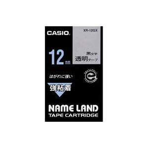 (まとめ)カシオ CASIO 強粘着テープ XR-12GX 透明に黒文字 12mm【×5セット】