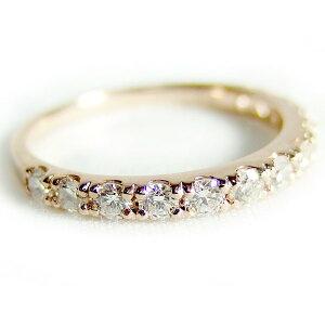 ダイヤモンドリングハーフエタニティ0.5ct12号K18ピンクゴールドハーフエタニティリング指輪