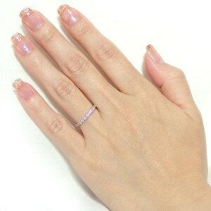 【鑑別書付】K18ピンクゴールド天然ダイヤリング指輪ダイヤ0.30ct8号ハーフエタニティリング