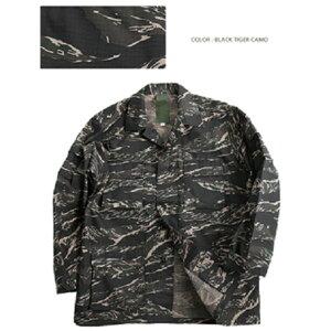 アメリカ軍 BDUジャケット/迷彩ジャケット 【 Lサイズ 】 JB001YN リップストップ ブラック タイガー 【 レプリカ 】