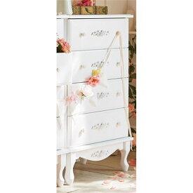 チェスト/衣類収納 【幅60cm】 木製脚付き 引き出し付き 『ピュアホワイトアンティーク飾り家具』 〔リビング〕