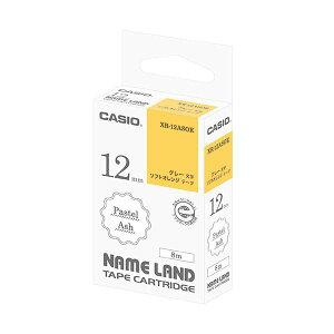 (まとめ)カシオ NAME LANDパステルアッシュテープ 12mm ソフトオレンジ/グレー文字 XR-12ASOE 1個【×5セット】