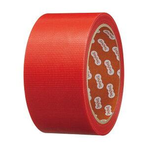 (まとめ)TANOSEE カラー養生テープ 50mm×25m 赤 1巻 【×10セット】