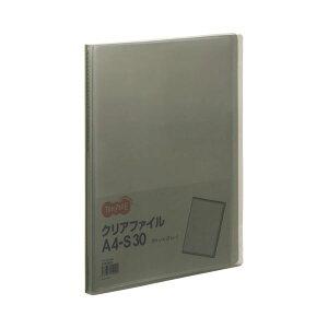 TANOSEE クリアファイル A4タテ 30ポケット 背幅17mm グレー 1セット(60冊)