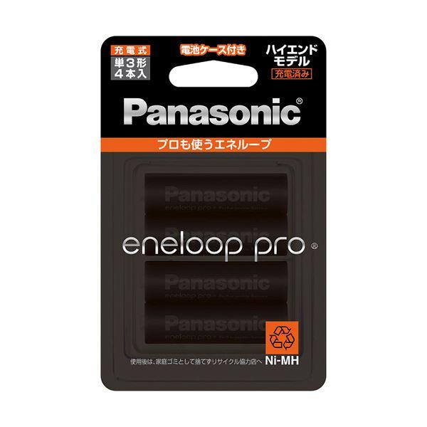 (まとめ)パナソニック 充電式ニッケル水素電池eneloop pro ハイエンドモデル 単3形 BK-3HCD/4C 1パック(4本)【×3セット】