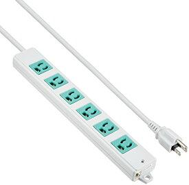サンワサプライ 3P、3m、6個口タップ緑色(バックアップ用) 品番:TAP-K6-3G