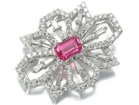 ホットピンク スピネル 0.765ct ダイヤ ダイヤモンド 0.881ct ペンダントトップ K18WG ソーティングメモ【中古】GENJ