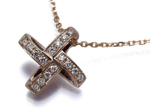 中古 俄 ニワカ ネックレス ダイヤ ダイヤモンド K18PG【中古】BLJ/GENJ