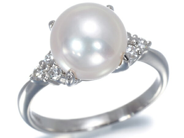 アコヤ真珠 パール 7.7mm珠 ダイヤ ダイヤモンド 0.13ct リング 指輪 Pt900/プラチナ【中古】GENJ
