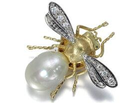 蜂 ハチ ダイヤ ダイヤモンド 白蝶真珠 パール ブローチ K18YG/Pt900/プラチナ【中古】GENJ