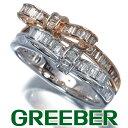 ブラウン&クリアダイヤ ダイヤモンド 0.40ct/0.30ct リボン リング 指輪 K18WG/PG【中古】GENJ