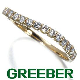 上質ダイヤ ダイヤモンド 0.25ct ハーフエタニティ ウェーブ リング 指輪 K18YG【中古】GENJ