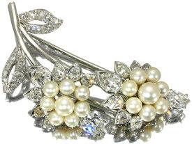 Cartier カルティエ パール ダイヤ ダイヤモンド アールデコ アンティーク品 ブローチ K18WG 【中古】BLJ
