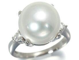 白蝶真珠 パール 12.8mm珠 ダイヤ ダイヤモンド 0.13ct リング 指輪 Pt900/プラチナ【中古】GENJ