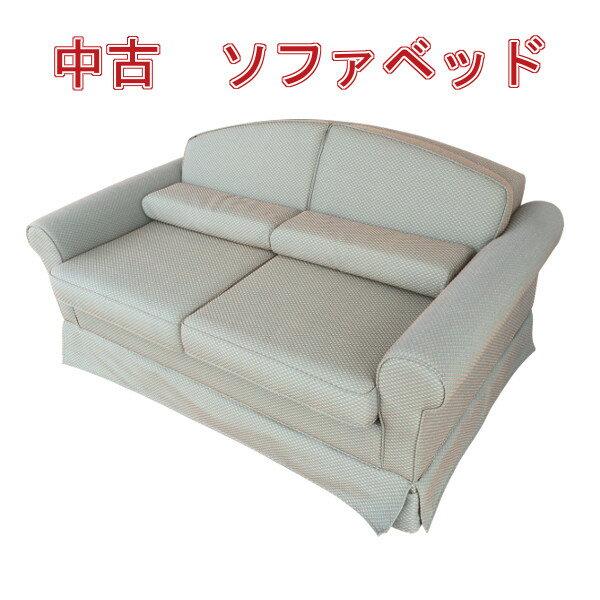【中古】 ソファベッド 肘掛あり クッション付き 布張り グリーン Eサイズ j2306