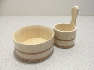 エゾマツ製 風呂桶2点セット 湯おけ 木製 風呂桶(斜口湯桶&片手湯桶)バスグッズ