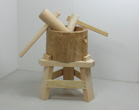 【専用木台付き】木製臼杵セット5合用(北海道の天然木使用)+子ども用ミニ杵つき 餅つき セット 臼 杵 キネ