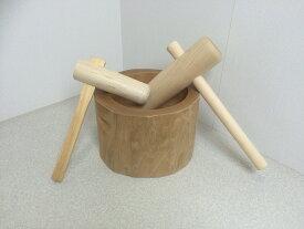 餅つき セット 臼 杵 木製臼杵セット5合用(北海道の天然木使用)+子ども用ミニ杵 木臼 キネ こども用 もちつき 道具 ミニ臼