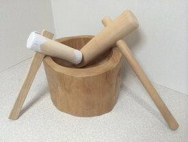 餅つき もち臼 杵 セット 木製臼杵セット1升用(北海道の天然木使用) 子ども用ミニ杵つき 臼 餅つきセット きね
