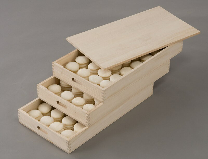 総桐ふた付きもち箱 3段組 木製 餅箱 フードコンテナー 桐製 もち 保存