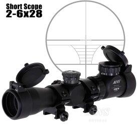 ANS Optical 2-6倍 可変ズーム 2-6x28EG ショート スコープ 1インチ 20mmレール 20mmレイル ローマウントリング ライフルスコープ スコープ ドットサイト 電動ガン エアガン エアーガン サバゲー サバイバルゲーム 装備
