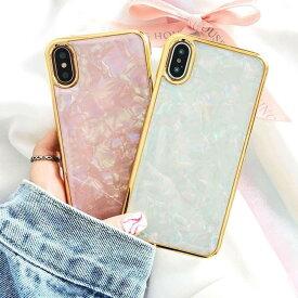 スマホケース ゴールドラインホログラム パステルカラー iPhoneケース iPhone X XS XR Xs max A