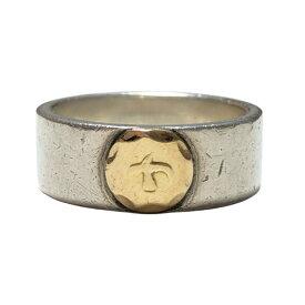 【中古】goro's ゴローズ 金メタル付き 平打ちリング 20号 K18 指輪 メンズ レディース