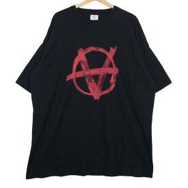 【中古】VETEMENTS ヴェトモン Tシャツ 20SS オーバーサイズ アナーキープリントTシャツ SS20TR297 ANARCHY TEE M 黒 メンズ レディース