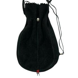 【中古】goro's ゴローズ 巾着バッグ ショルダータイプ M 黒 ディアスキン バッグ マチ付き メンズ レディース