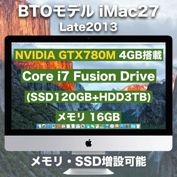 訳あり【即納/送料無料/中古】iMac27/Corei7 Fusion Drive(SSD120GB+HDD3TB) /メモリ16GB GTX780M 4GB (A1419)Late2013