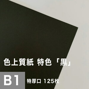 色上質紙 特色 「黒」 特厚口 0.14mm B1サイズ:125枚, 色付き 模造紙 無地 ブラック 用紙 上質紙 インクジェット レーザープリンター コピー機 印刷用紙 プリンタ用紙 色紙 カタログ印刷 プログ