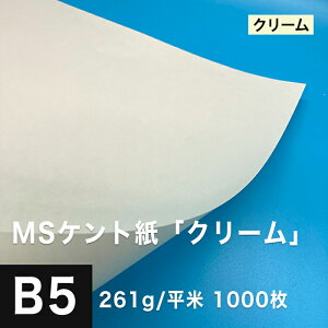 MS ケント紙「クリーム」 261g/平米 B5サイズ:1000枚, 製図 紙 図画 デザイン用 画用紙 レーザープリンター インクジェットプリンター 高級紙 賞状 領収書 名刺 カード 印刷紙 印刷用紙 滑らか